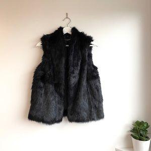 Express Black Faux Fur Vest